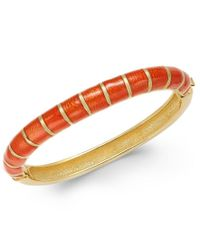 Charter Club | Orange Erwin Pearl Atelier For Gold-tone Striped Hinged Bangle Bracelet, Only At Macy's | Lyst