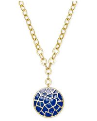 Charter Club | Metallic Gold-tone Crackled Disc Pendant Necklace | Lyst