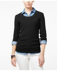 Tommy Hilfiger - Black Jenny Cable-knit Sweater, Only At Macy's - Lyst