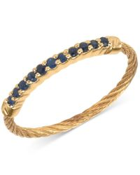 Charriol | Metallic Women's Laetitia Blue Sapphire Accent Gold-tone Pvd Stainless Steel Cable Ring | Lyst