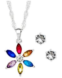 Charter Club | Metallic Silver-tone Crystal Daisy Pendant Necklace And Stud Earrings Set | Lyst