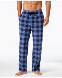 Perry Ellis | Blue Men's Buffalo Plaid Fleece Pajama Pants for Men | Lyst