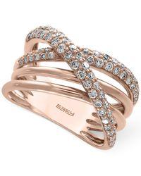 Effy Collection - Metallic Diamond Crisscross Ring (3/4 Ct. T.w.) In 14k Rose Gold - Lyst