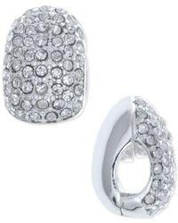 Anne Klein | Metallic Silver-tone Black Crystal Huggie Clip-on Earrings | Lyst