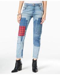 William Rast | Blue Tomboy Patched Larkspur Wash Straight-leg Jeans | Lyst