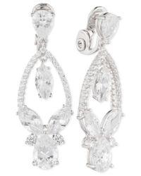 Anne Klein   Metallic Multi-crystal And Pave Orbital Drop Clip-on Earrings   Lyst