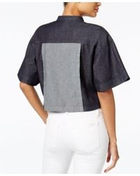 Guess | Multicolor Cropped Boxy Shirt | Lyst