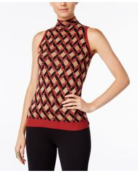 INC International Concepts | Red Jacquard Mock-neck Top, Only At Macy's | Lyst