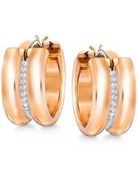Swarovski | Metallic Rose Gold-tone Pave Wide Hoop Earrings | Lyst