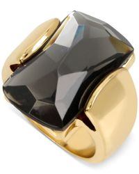 Robert Lee Morris - Gold-tone Large Faceted Black Stone Statement Ring - Lyst