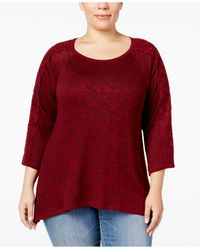 Style & Co. | Red Plus Size Lace-sleeve High-low Sweater, Only At Macy's | Lyst