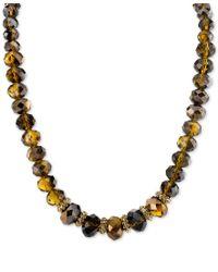 2028 - Metallic Gold-tone Brown Bead Collar Necklace - Lyst