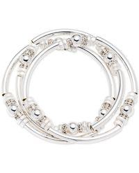 Nine West   Metallic Silver-tone 3-pc. Set Metal Bangle Decorated Stretch Bracelets   Lyst