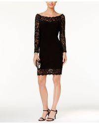 Betsy & Adam Black Illusion Lace Bodycon Dress
