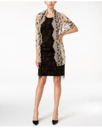 Betsey Johnson | Black Sequined And Fringe Evening Wrap | Lyst