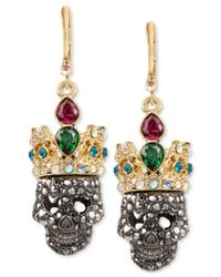 Betsey Johnson | Multicolor Two-tone Pavé And Crystal Crowned Skull Drop Earrings | Lyst