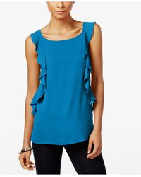INC International Concepts | Blue Ruffled Sleeveless Top | Lyst