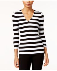 INC International Concepts | Black Striped Rib-knit Top, Only At Macy's | Lyst