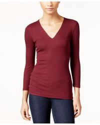 INC International Concepts | Red Ribbed Top, Only At Macy's | Lyst