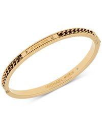 Michael Kors   Metallic Gold-tone Logo Chain Detail Bangle Bracelet   Lyst