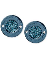 Michael Kors | Blue Ion-plated Pave Disc Stud Earrings | Lyst