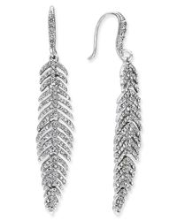 INC International Concepts | Metallic Silver-tone Pave Feather Linear Drop Earrings, Only At Macy's | Lyst