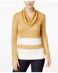 G.H. Bass & Co. | Metallic Striped Cowl-neck Sweater | Lyst