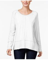 Style & Co. | White Raw-edge Scoop-neck Top, Only At Macy's | Lyst