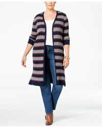 Style & Co. | Blue . Plus Size Striped Open-front Duster Cardigan, Only At Macy's | Lyst