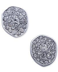 INC International Concepts | Metallic Silver-tone Pave Irregular Disc Button Stud Earrings, Only At Macy's | Lyst