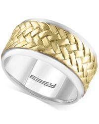 Effy Collection | Metallic Effy Men's Two-tone Woven-look Ring In Sterling Silver And 18k Gold-plated Sterling Silver | Lyst