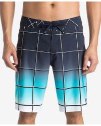 """Quiksilver   Blue Men's Everyday Electric Ombre Windowpane 21"""" Boardshorts for Men   Lyst"""
