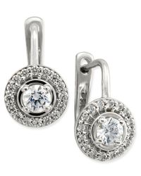 Macy's | Metallic Diamond Halo Leverback Earrings (1/2 Ct. T.w.) In 14k White Or Yellow Gold | Lyst