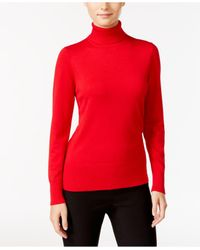 Cable & Gauge | Red Ribbed Turtleneck Sweater | Lyst