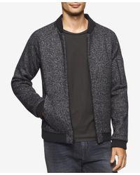 Calvin Klein | Black Men's Full-zip Heathered Bomber Jacket for Men | Lyst