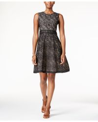 Tommy Hilfiger | Black Lace Fit & Flare Dress | Lyst