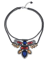 Guess - Blue Hematite-tone Crystal Aztec Bib Necklace - Lyst