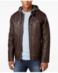Sean John   Brown Men's Faux-leather Hooded Jacket for Men   Lyst