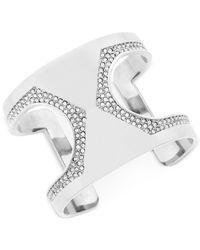 Vince Camuto | Metallic Silver-tone Pavé Cutout Cuff Bracelet | Lyst
