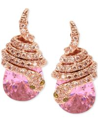 Betsey Johnson | Rose Gold-tone Pink Crystal Pavé Snake Stud Earrings | Lyst