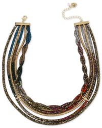Betsey Johnson | Metallic Gold-tone Crystal Mesh Filled Multi-layer Collar Necklace | Lyst