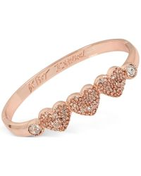 Betsey Johnson | Pink Rose Gold-tone Triple Heart Pavé Bangle Bracelet | Lyst