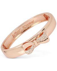 Betsey Johnson | Metallic Rose Gold-tone Pavé Bow Bangle Bracelet | Lyst