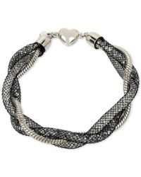 Betsey Johnson | Metallic Silver-tone Braided Crystal Mesh Bracelet | Lyst