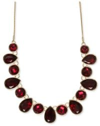 Nine West | Red Multiple Faceted Stone Collar Necklace | Lyst