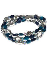 Nine West | Blue Silver-tone Multi-bead Three Row Stretch Bracelet | Lyst