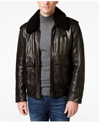 Andrew Marc | Black Men's Anchorage Leather Aviator Jacket for Men | Lyst