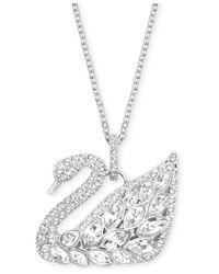 Swarovski | Metallic Silver-tone Multi-crystal Swan Pendant Necklace | Lyst