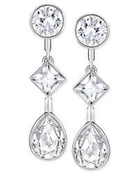 Swarovski   Metallic Silver-tone Multi-crystal Earring Jacket Earrings   Lyst