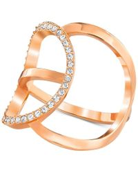 Swarovski | Multicolor Rose Gold-tone Crystal Pave Modern Statement Ring | Lyst